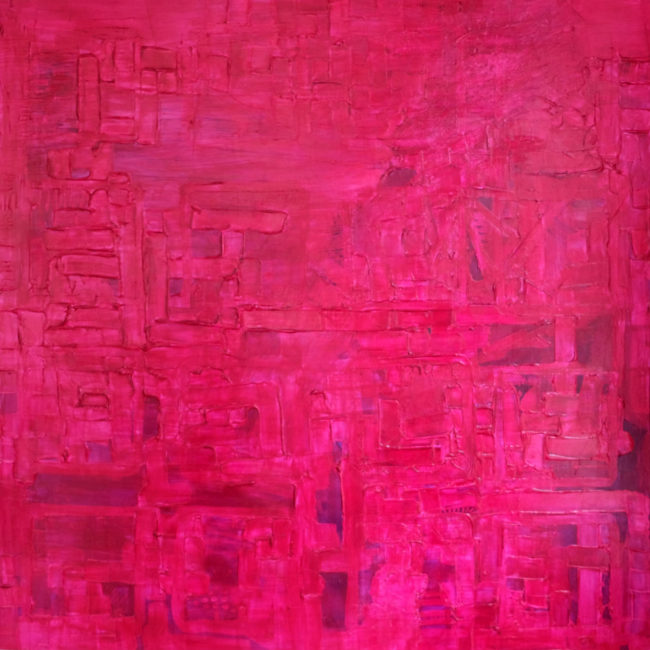 Blame It on my ADD is a 4 foot by 4 foot pink abstract painting by Caitlin Wheeler Art