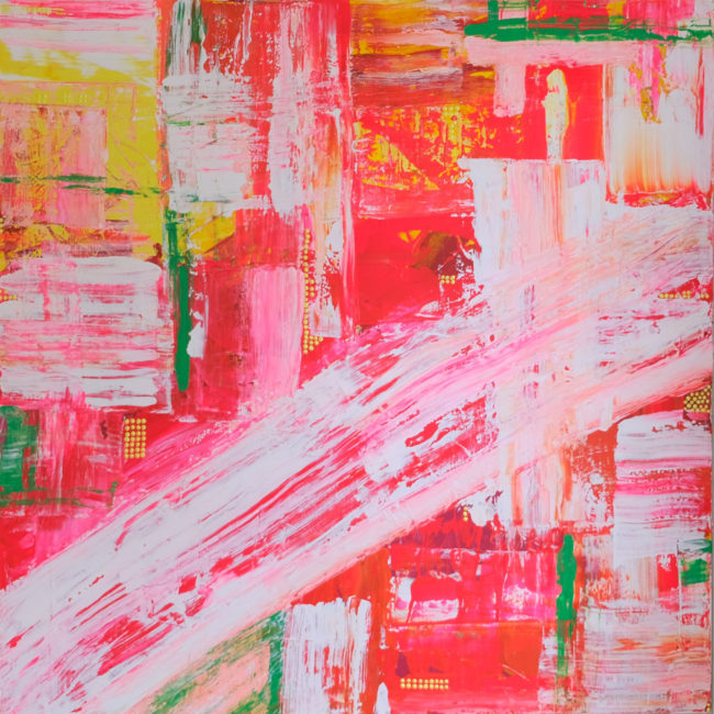 Kitty Cherry Cola pink yellow green and white painting by Caitlin Wheeler art