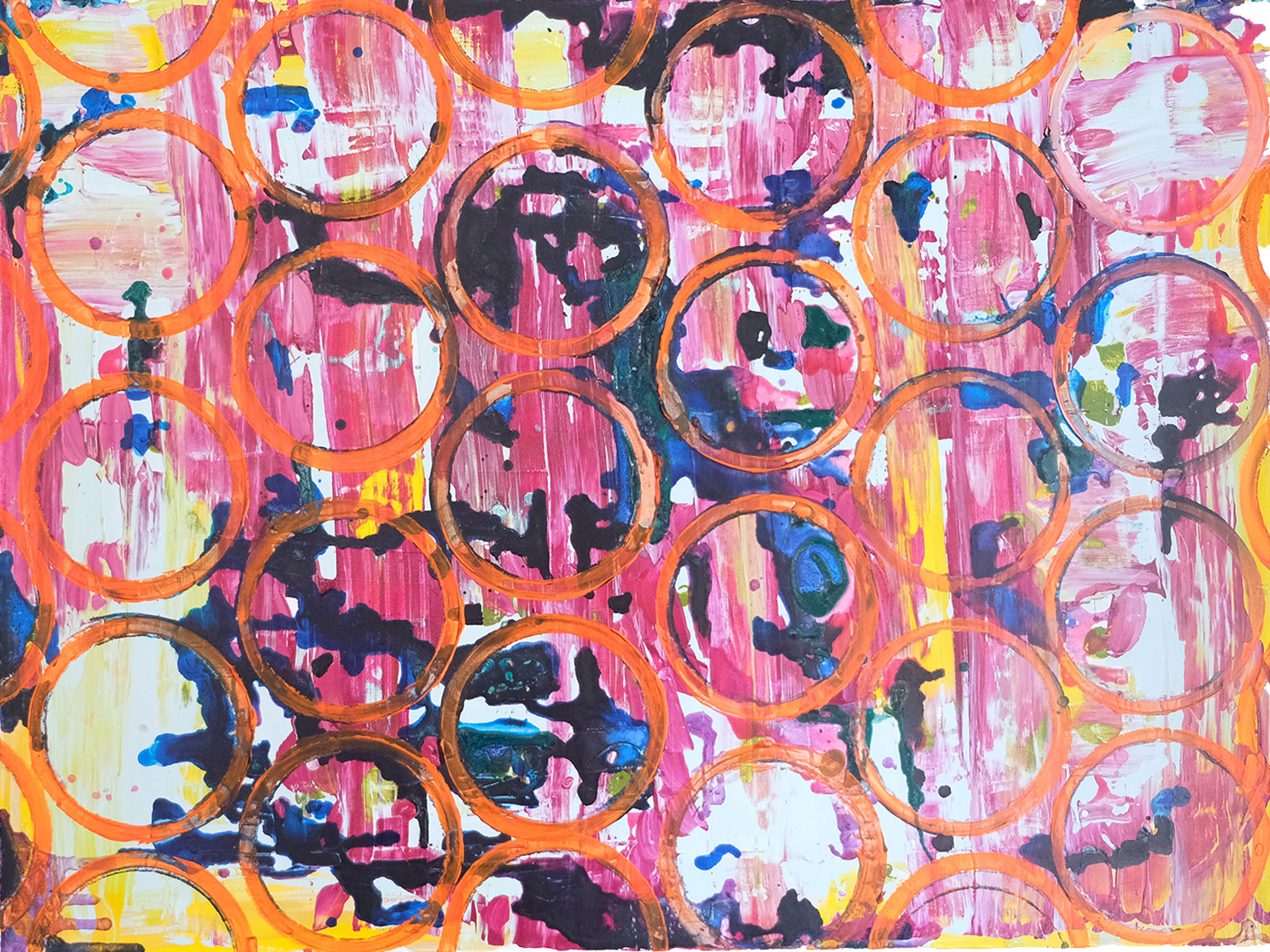 Untitled pink orange and blue painting with circles and drips by Caitlin Wheeler Art June 2018
