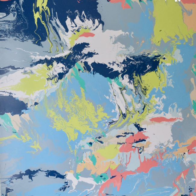 Runners High is an original fluid acrylic on canvas artwork by Caitlin Wheeler art with focus on gray blue green and pops of coral
