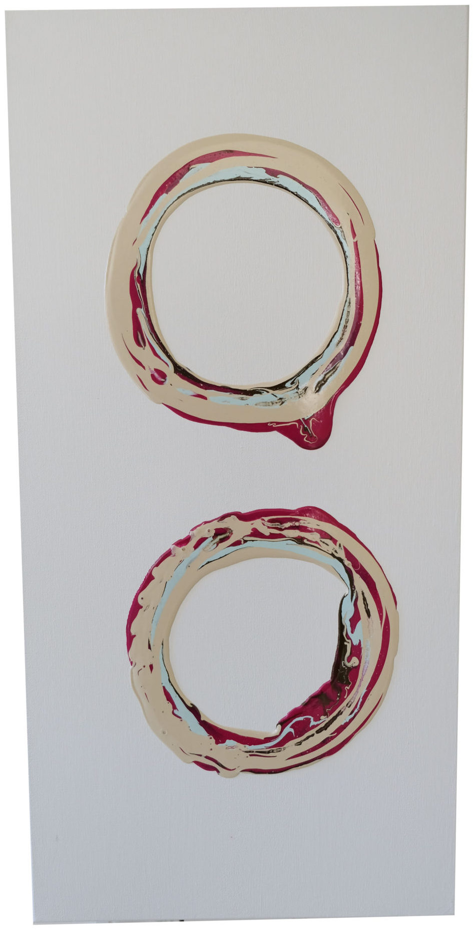 An original abstract acrylic painting by Caitlin Wheeler art in Washington DC featuring two circular donuts that are multi-color