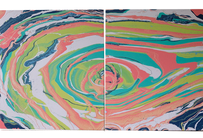 Frenzied Forecast is an original acrylic on canvas painting by Caitlin Wheeler located in Washington DC featuring colorful hurricane-esque shapes in blues, greens, pinks and coral shades