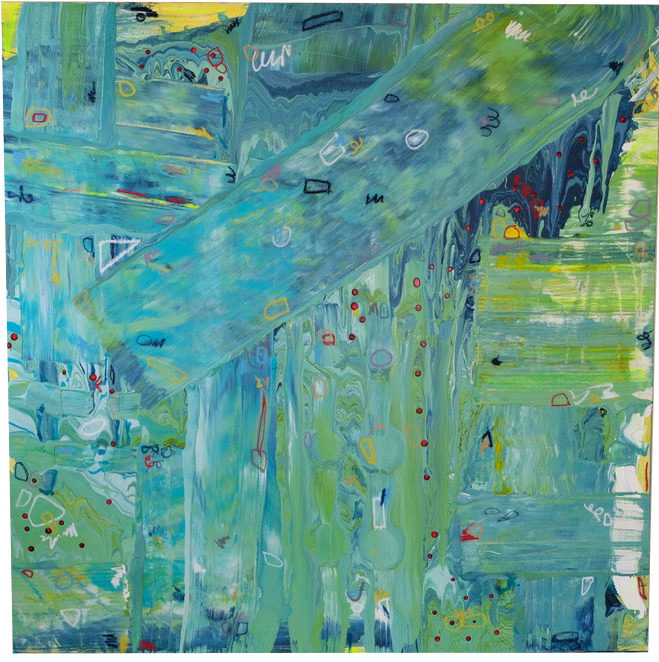 Large predominately green blue and yellow painting by Caitlin Wheeler Art