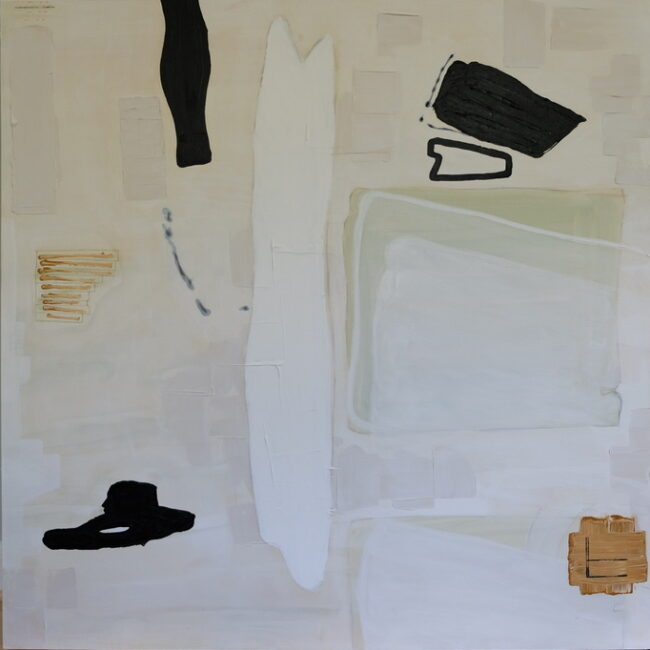 That Fancy Wine original acrylic on canvas large scale painting by Caitlin Wheeler comprised of neutral tones white black